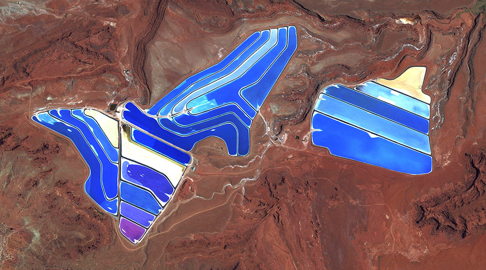 Evaporation ponds are visible at the potash mine in Moab, Utah, USA.