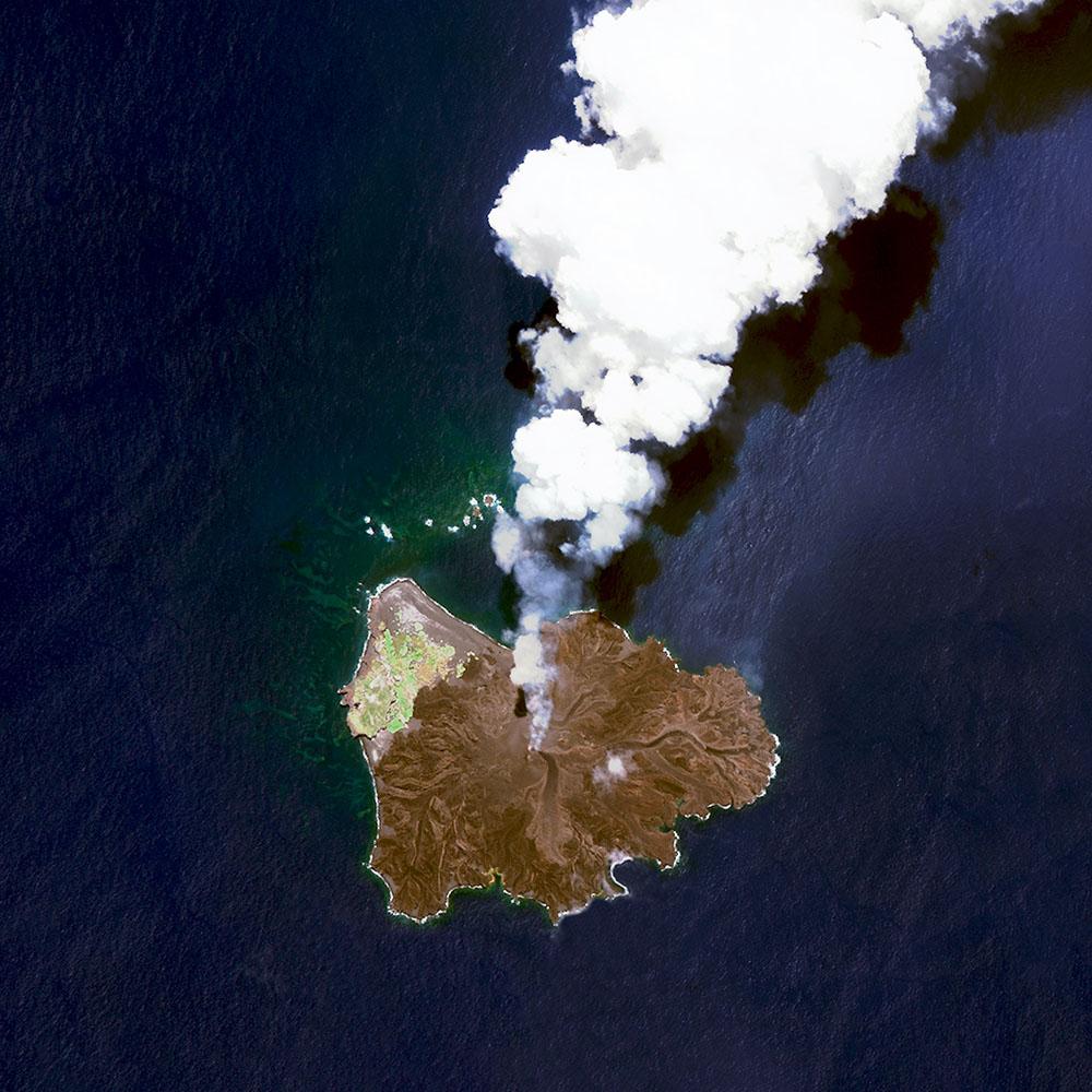 Nishinoshima is a volcanic island located 940 kilometres (584 miles) south of Tokyo, Japan
